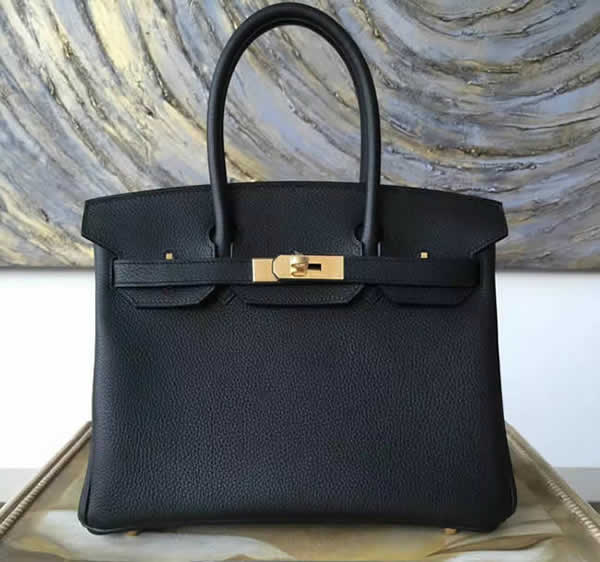 Hermes Birkin 25cm Togo Calfskin Bag Handstitched Gold Hardware, Black Noir RS02789