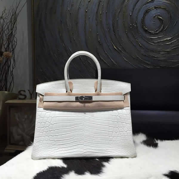 Replica Quality Hermes Birkin 35cm Matte Alligator Crocodile Palladium Hardware Handstitched, Blanc CK01 RS10422