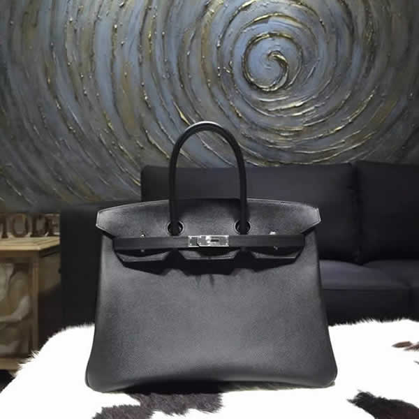 Hermes Birkin 35cm Epsom Calfskin Original Leather Bag Handstitched, Noir Black RS05050
