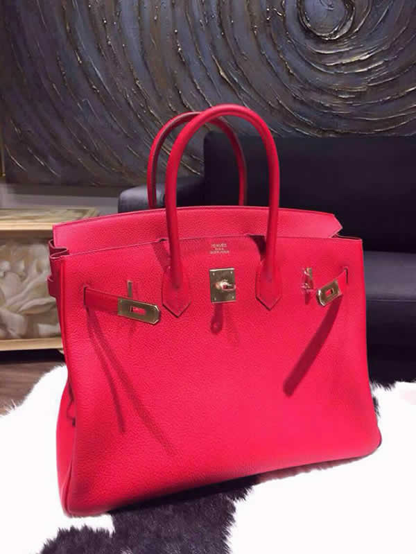 Hermes Birkin 35cm Togo Hand Stitched Bag Gold Hardware, Rouge Casaque Q5 RS12100
