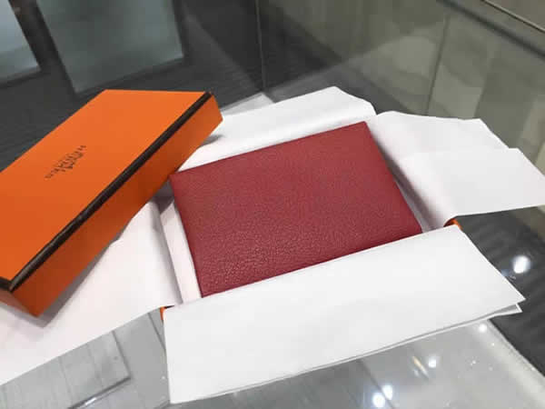 Hot Hermes Calvi Card Holder Case Handstitched Taurillon Clemence Calfskin, Rouge Garance RS14816