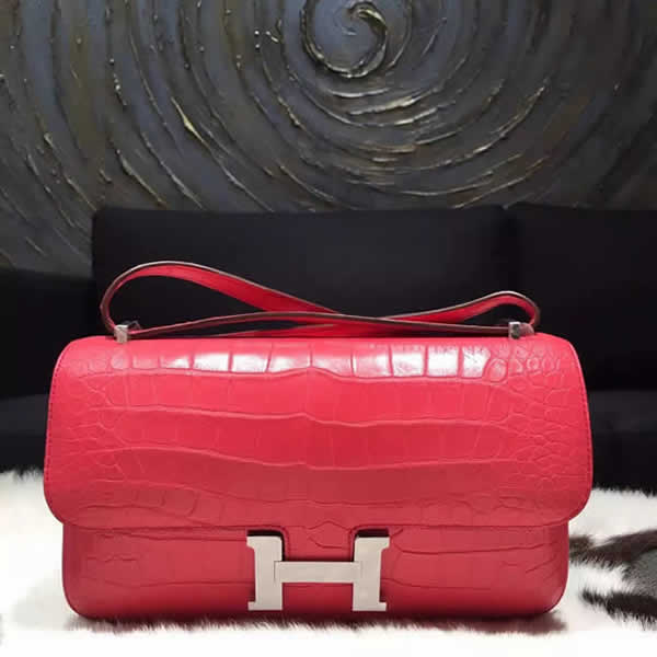 Replica Hermes Constance Elan 26cm Matte Alligator Crocodile Handstitched Palladium Hardware, Bougainvillier A5 RS06711