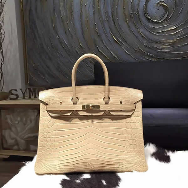 Hermes Matte Alligator Crocodile Birkin 35cm Gold Hardware Handstitched, Poussiere 1C RS02131