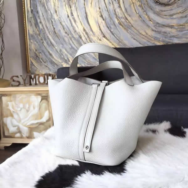 Top Imitation Hermes Picotin Lock Bag 18cm/22cm Taurillon Clemence Palladium Hardware Hand Stitched, Pearl Grey CK80 RS08503