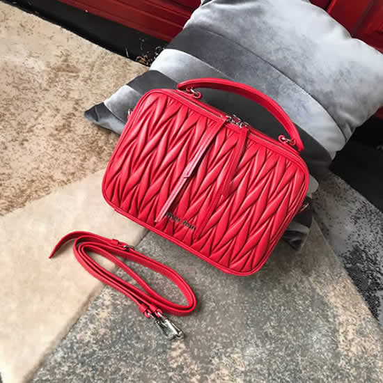 Replica 1:1 Quality Miu Miu Fashion Red Handbag Messenger Bag