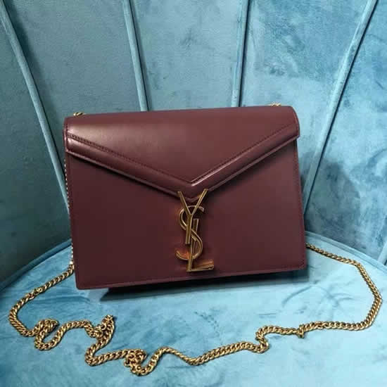 Fake Yves Saint Laurent New Cassandra Monogram Red Wine Flap Bag